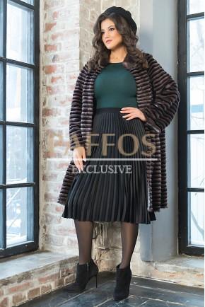 Норковое пальто на трикотажной основе