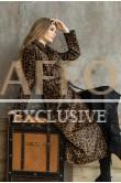 Леопардовый плащ из кожи Италия
