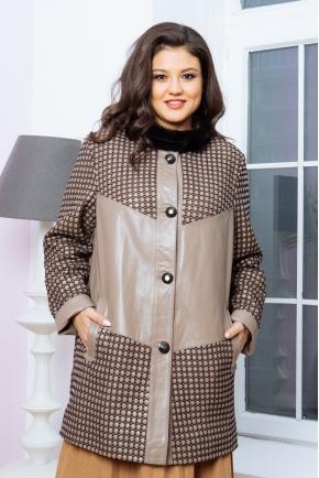 Куртка из кожи кофейного цвета