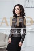 Коричневая женская куртка из кожи Весна-Осень