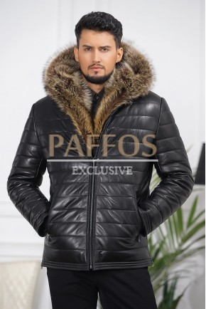Мужская модная кожаная куртка 2018