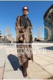 Дубленка-пальто леопард двухсторонняя.