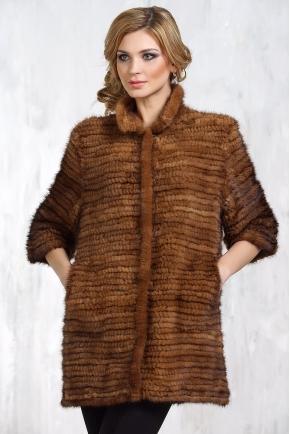 Пальто из вязанной норки