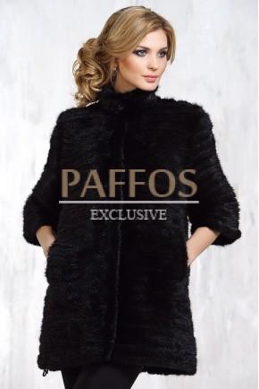Черное пальто из вязанной норки