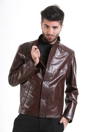 Мужская кожаная коричневая куртка