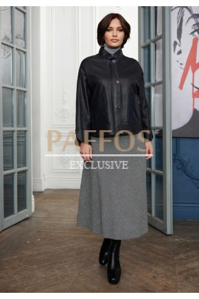 Черная куртка из кожи для женщин