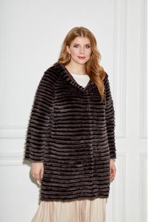 Темное пальто из норки+кролика рекс