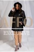 Черное кожаное пальто с мехом норки