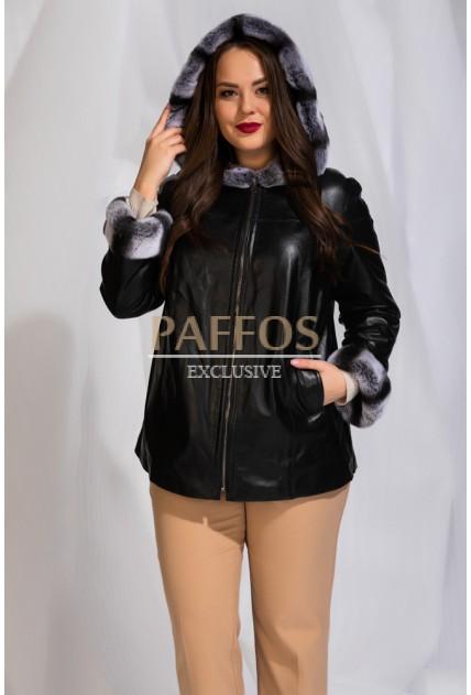Двухсторонняя кожаная куртка  с мехом больших размеров