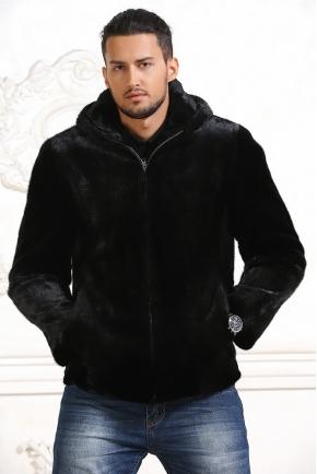 Мужская куртка-шуба из меха норки с капюшоном