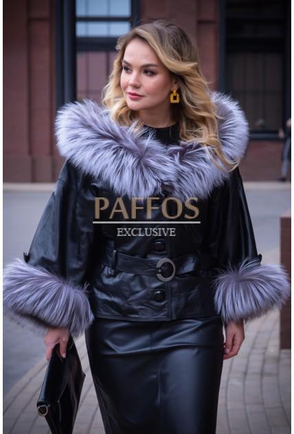 Кожаная куртка с чернобурки Итальянская коллекция.