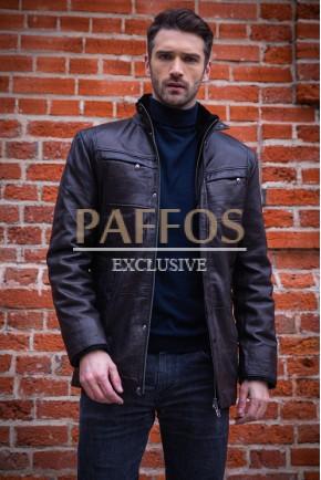 Теплая мужская зимняя куртка-дубленка