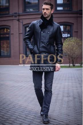 Мужская куртка из кожи и меха норки