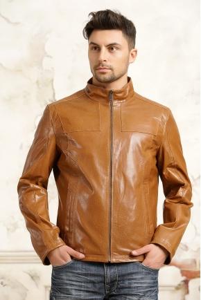 Мужская рыжая кожаная куртка